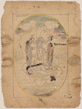 Chinnamasta standing on Kamadeva and Rati_ Indian-Pahari-About-1825