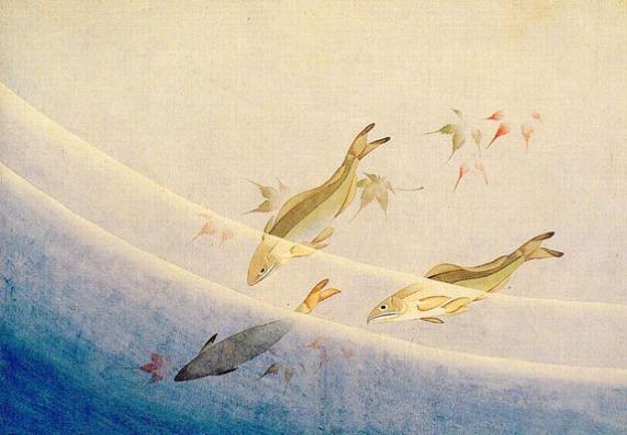 hokusai-katsushika_peces y hojas rojas