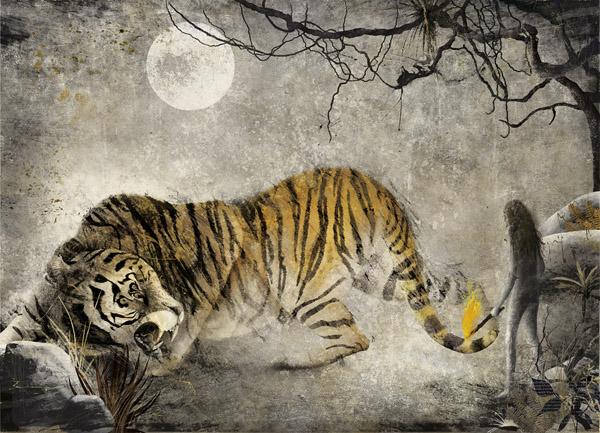 Gabriel Pacheco_El libro de la selva_Mowgli y Shere Kahn